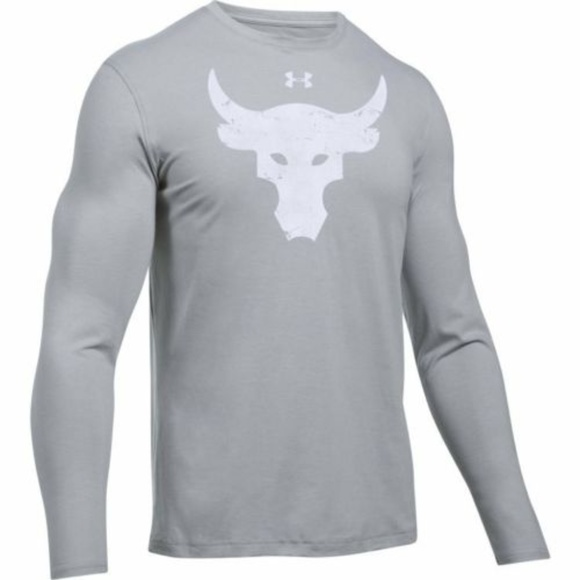 Under Armour Project Rock Brahma Bull Gray Long Sleeve T-Shirt Size Large